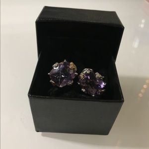 Amethyst stone with white and yellow gold earrings